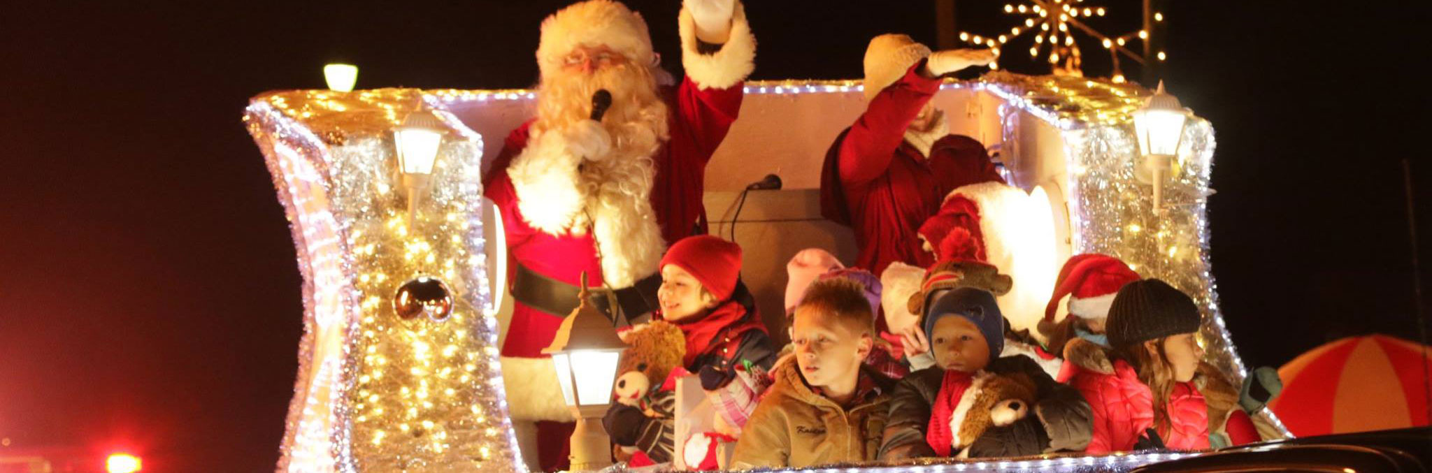 Santa with children on float